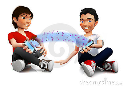 3D friends sharing music