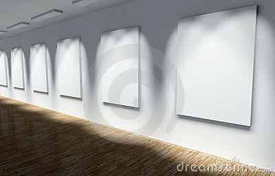 3d Gallery, Hall with Empty Frames