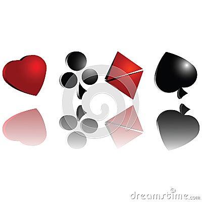 3d gambling cards symbols