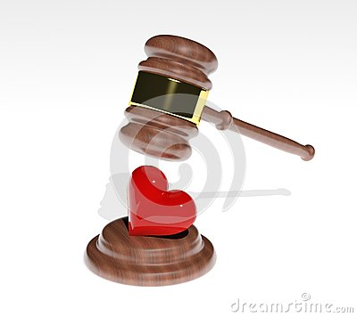 3d Gavel and red heart