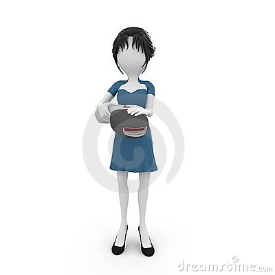 3d girl with barcode scanner