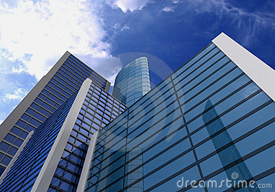 3d, glass buildings with the sky and clouds