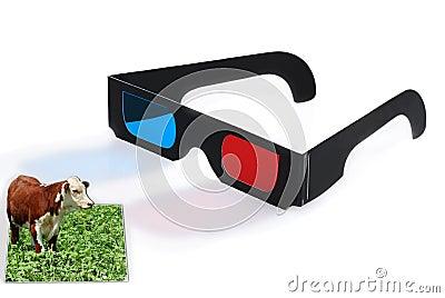 3D glasses effect concept