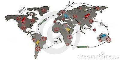 3d global transport routes concept