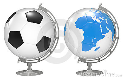 3d the Globe with 3D soccer balls