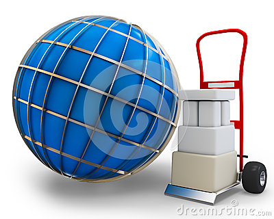 3d globe with cart and boxes