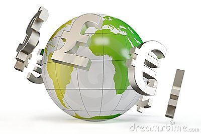 3d globe with currency symbols