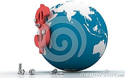 3d globe dollar sign