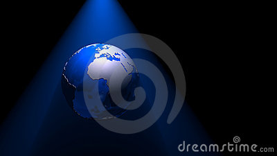 3D globe by night blue 01