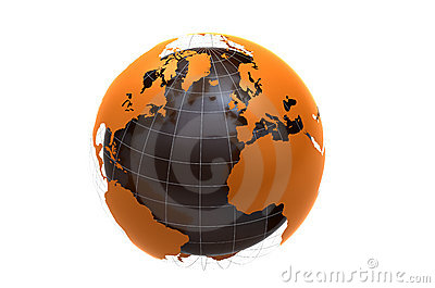 3d globe on white background