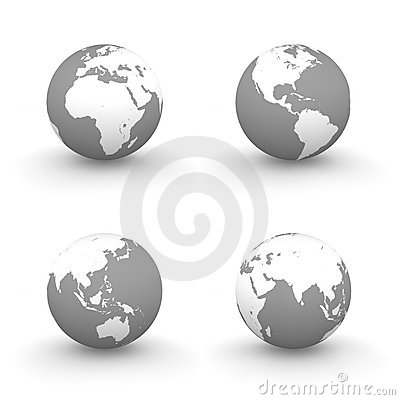 3D Globes in White and Grey