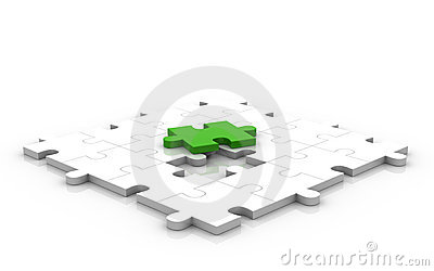 3D Glossy Puzzle Green Piece Up