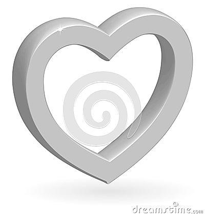 3D glossy silver vector heart.