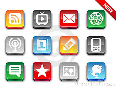 3d glossy simple media icons.