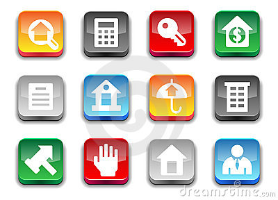 3d glossy simple real estate icons.