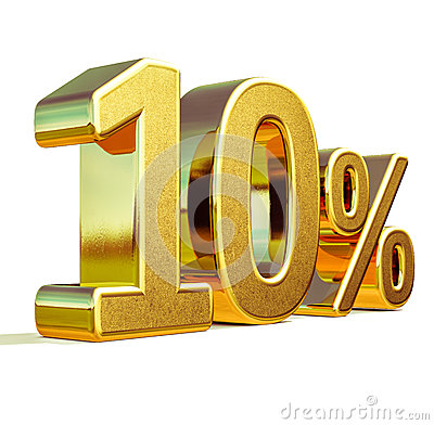 Free 3d Gold 10 Ten Percent Discount Sign Royalty Free Stock Photo - 85591855