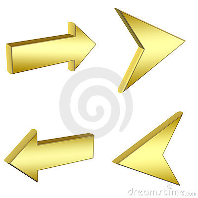 3D gold arrows
