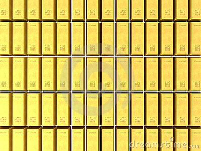 3D gold bars background