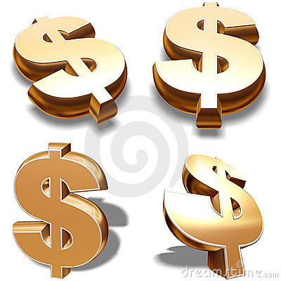 3D Gold Dollars Symbols