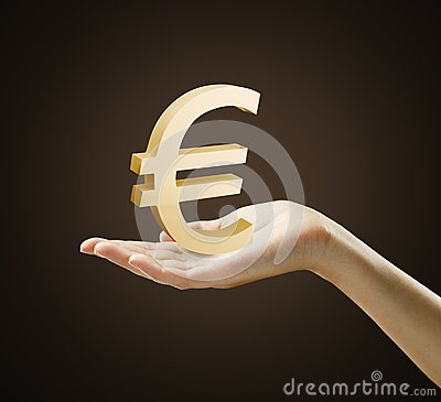 3d Gold Euro Sign on a hand
