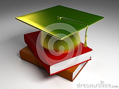3D Gold Graduation Cap_Normal Books