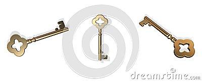 3D gold keys