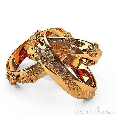3D gold ring three snake