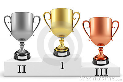 3d gold silver bronze cups on podium
