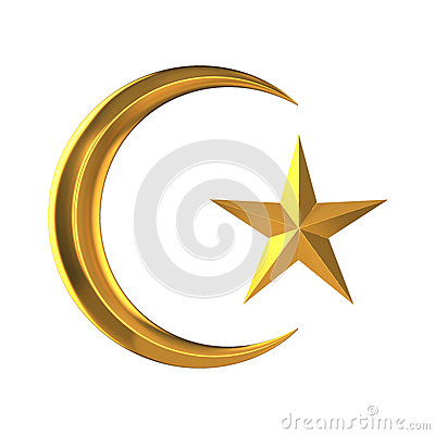 Free 3d Gold Star And Crescent Stock Image - 39495291