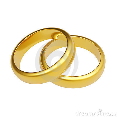 Free 3d Gold Wedding Ring Royalty Free Stock Images - 12479899