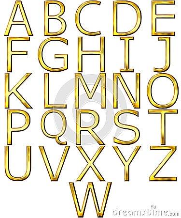 3D Golden Alphabet