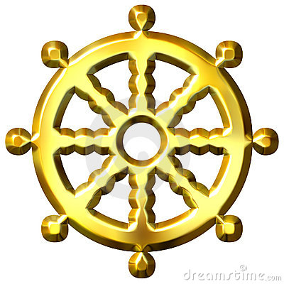 3D Golden Buddhism Symbol Wheel of Dharma