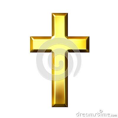 Free 3D Golden Cross Royalty Free Stock Photos - 5500628