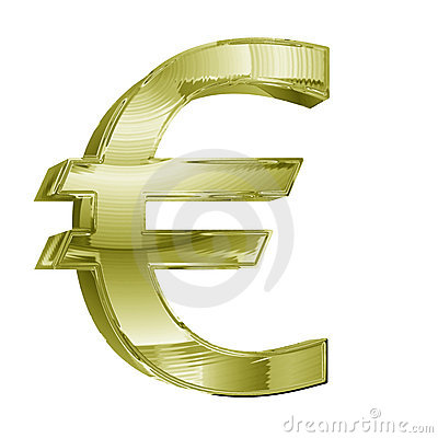 3D golden Euro dollar sign