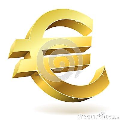 3D golden Euro sign