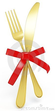 3d golden Knife and fork with red bow