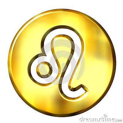 3D Golden Leo Zodiac Sign