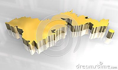 3d golden map of american samoa