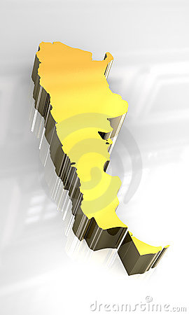 3d golden map of Argentina