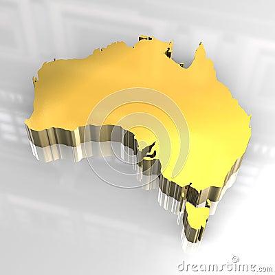 3d golden map of australia