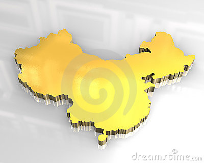 3d golden map of china