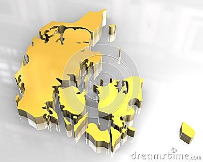3d golden map of denmark