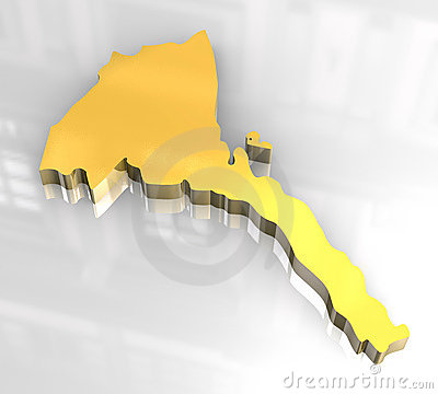 3d golden map of Eritrea