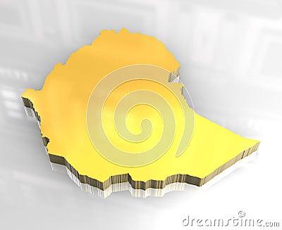 3d golden map of Ethiopia