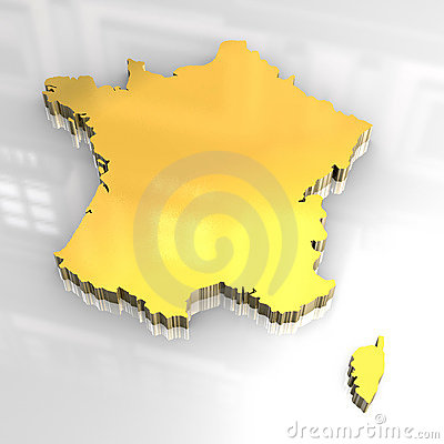3d golden map of France