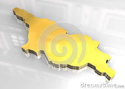3d golden map of Georgia