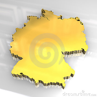 3d golden map of germany