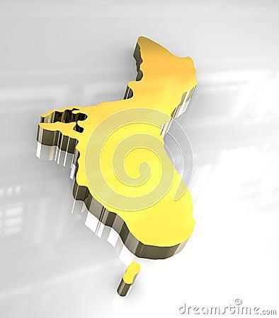3d golden map of Guam