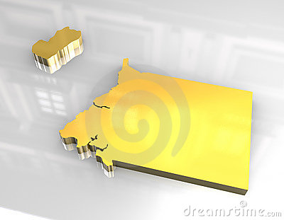 map of guinea equatorial. Royalty Free Stock Photo: 3d golden map of Guinea Equatorial
