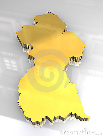 3d golden map of guyana